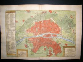 De Fer 1724 Folio Hand Col Map Plan. Paris City Plan incl University, France